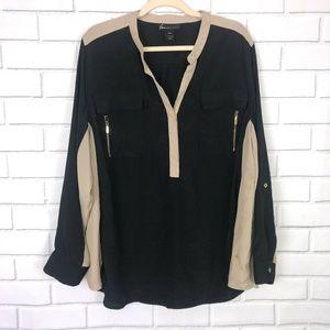 Lane Bryant Black Tan Shirt Blouse Roll Up Sleeve